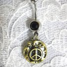 ANTIQUED BRASS ROUND PEACE SIGN DISC CHARM ON DBL BLACK CZ BELLY BUTTON RING