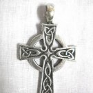 NEW THICK CELTIC DESIGN CROSS RING OF LIGHT SCROLL KNOTS PEWTER PENDANT NECKLACE