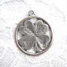 NEW LUCKY 4 LEAF CLOVER INSIDE ROUND RING AMERICAN CAST PEWTER PENDANT NECKLACE