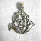 FRIENDS FOREVER CELTIC IRISH CLADDAGH LARGE PEWTER PENDANT ADJ CORD NECKLACE