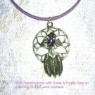 SOUTHWESTERN DREAM CATCHER w CROSS PURPLE GEM SILVER PEWTER PENDANT NECKLACE
