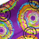 PURPLE HIPPIE SMILEY FACE TIE DYE ROUNDS YELLOW ORANGE PINK & LIME GREEN BANDANA