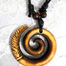 NEW BROWN & RUST RESIN MAORI SPIRAL TRIBAL DESIGN PENDANT ADJ STRING NECKLACE