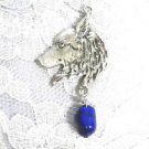 HAND ENGRAVED WOLF HEAD PROFILE w DEEP COBALT BLUE TURQUOISE PENDANT NECKLACE