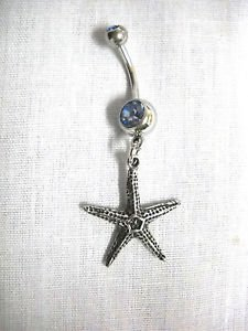 NEW OCEAN STARFISH PEWTER DANGLING CHARM BABY BLUE CZ BELLY RING BEACH PARADISE