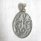 NEW SPIRIT WOLF w DETAILED FACE IN OVAL SHAPE USA PEWTER PENDANT ADJ NECKLACE