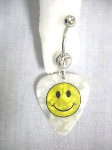 NEW CLASSIC SMILEY FACE HAVE A NICE DAY PRINTED GUITAR PICK ON 14g CLEAR CZ BELLY RING