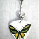 UNIQUE LIME YELLOW BLACK BUTTERFLY PRINTED GUITAR PICK on 14g CLEAR CZ BELLY BARBELL