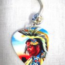 SOUTHWESTERN NATIVE WARRIOR BRAVE PRINTED GUITAR PICK 14g BLUE CZ BELLY RING BARBELL