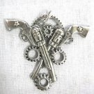 STEAMPUNK REVOLUTION DOUBLE PISTOL / REVOLVER / GUNS w GEARS PEWTER PENDANT ADJ NECKLACE