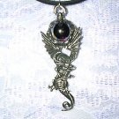 NEW WICKED DETAILED DRAGON w PURPLE GLASS ORB BALL USA PEWTER PENDANT NECKLACE