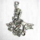 LARGE HUMMINGBIRD w FLOWERS HAND CAST PEWTER PENDANT ADJ NECKLACE BIRDS GARDENING