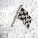 CAST PEWTER RACING FINISH LINE CHECKERED FLAG PENDANT ADJ RACE NECKLACE