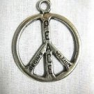 PEWTER PEACE SIGN SYMBOL TEXT WORDS PEACE BEGINS WITHIN PENDANT ADJ NECKLACE