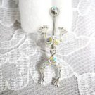 FUN IRIDESCENT CRYSTAL JUMPING FROG w MOVING BODY NAVEL BELLY RING