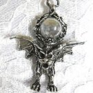 NEW WILD XL PEWTER GARGOYLE w CLEAR ENCRUSTED ORB GLASS BALL PENDANT NECKLACE