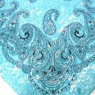 CLASSIC PAISLEY PRINT BLUE TURQUOISE COLOR DENIM LOOK BANDANA HEAD WRAP SCARF