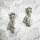 CUTE CRITTER FULL BODY FOX / FOREST ANIMAL DANGLING USA CAST PEWTER CHARM EARRINGS