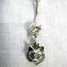 RAISED WOLF HEAD FACE LEADER OF THE PACK 14g CLEAR CZ BARBELL BELLY RING