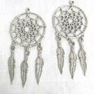 NATIVE SPIRIT WEB DREAM CATCHER USA CAST PEWTER FULL PENDANT HOOK EARRINGS