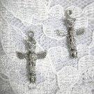 NEW TRIBAL SPIRIT THUNDERBIRD TOTEM POLE DANGLING USA PEWTER CHARM HOOK EARRINGS