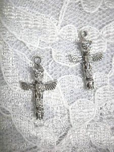 NEW TRIBAL SPIRIT THUNDERBIRD TOTEM POLE DANGLING USA PEWTER CHARM HOOK EARRINGS