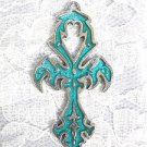 EGYPTIAN ETERNAL LIFE ANKH / ANHK w TURQUOISE BLUE INLAY PEWTER PENDANT ADJ NECKLACE