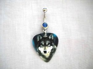 NEW NIGHT HUNT GRAY WOLF ANIMAL PRINTED GUITAR PICK ON 14g BLUE CZ BELLY RING BARBELL