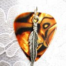 BROWN ABALONE LOOK GUITAR PICK w PEWTER FEATHER PENDANT