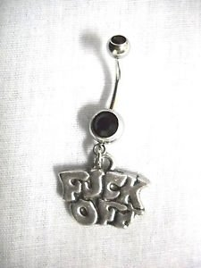 NEW HAND CAST PEWTER F**K OFF PENDANT DOUBLE BLACK CZ BELLY BAR NAVEL JEWELRY