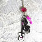 MUSICAL WHITE GUITAR - BLACK CLEF & PINK MUSIC NOTE 3 CHARM 14g FUSCHIA PINK CZ BELLY RING BARBELL