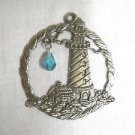 DETAILED BY THE OCEAN LIGHTHOUSE w BABY BLUE CRYSTAL DROPLET SUNCATCHER ORNAMENT