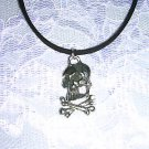 NEW POISON SYMBOL - SKULL & CROSSBONES PEWTER PENDANT SUEDE NECKLACE