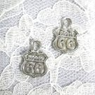 INFAMOUS HIGHWAY ROAD ROUTE 66 SIGN DANGLING USA CAST PEWTER CHARM EARRINGS