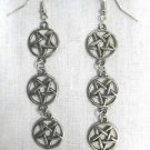 DARK RITUAL SATANIC OCCULT PENTAGRAM STAR 3 CHARMS CHAIN LINK DANGLING METAL EARRINGS