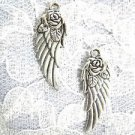 OPEN ROSE FLOWER ATOP ANGEL WING WINGS DANGLING CHARM PIERCED EARRINGS ANGELIC JEWELRY