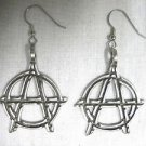 PUNK ANARCHY SYMBOL FULL SIZE CAST PEWTER PENDANT DANGLING STATEMENT EARRINGS