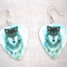 NEW APEX PREDITOR SNOWY GRAY WOLF WILDLIFE GUITAR PICK DANGLING PAIR OF EARRINGS