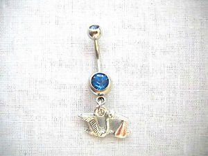 DELIVERY FLYING STORK w BABY IT'S A BOY CHARM ON 14g DBL BLUE CZ BELLY RING BAR