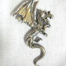 NEW LARGE KILLER FLYING HORNED DRAGON USA CAST PEWTER PENDANT ADJ NECKLACE