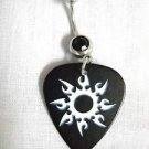 TRIBAL INK TATTOO SOLAR SUN FLARE ART PRINTED GUITAR PICK w 14g BLACK CZ BELLY RING NAVEL BAR