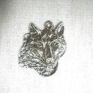 WILDLIFE ANIMAL AMERICAN GRAY WOLF FACE USA CAST PEWTER PENDANT NECKLACE WOLVES