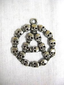 REBEL ANARCHY A SYMBOL OUT OF SKULLS PEWTER PUNK ROCK PEWTER PENDANT NECKLACE