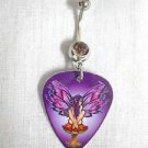 PURPLE NYMPH FAIRY SITTING ATOP TOADSTOOL GUITAR PICK 14g PURPLE CZ BELLY RING BARBELL