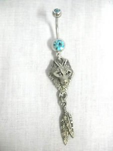 EJC WOLF HEAD & TWIN FEATHERS DREAM CATCHER STYLE 14g TURQUOISE BLUE CZ BELLY RING