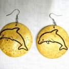 BIG EXOTIC JUMPING DOLPHIN BEACH NAUTICAL ENGRAVED DESIGN COCONUT SHELL EARRINGS