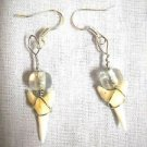 NEW WIRE WRAPPED REAL SHARK TOOTH CHARMS & CLEAR GLASS BEAD DANGLING EARRINGS