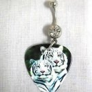 2 WHITE TIGERS INDIAN ENDNAGERED SPECIES PHOTO GUITAR PICK 14g CZ BELLY RING BARBELL