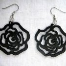 NEW JET BLACK CUT OUT ROSE FLOWER SILHOUETTE WOODEN DANGLING FLOWERS EARRINGS