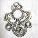 STEAMPUNK ART TWIN SEA LIFE DOLPHIN w GEARS PEWTER PENDANT ON ADJ CORD NECKLACE